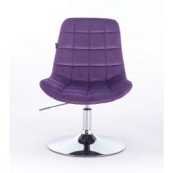 Židle na kulaté podstavě HR590N velur - fialová