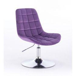 Kosmetická židle na kulaté podstavě HR590N velur - fialová (V)