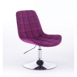Kosmetická židle na kulaté podstavě HR590N velur - fuchsiová
