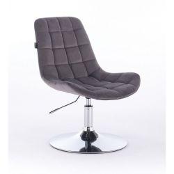 Kosmetická židle na kulaté podstavě HR590N velur - grafitová (V)