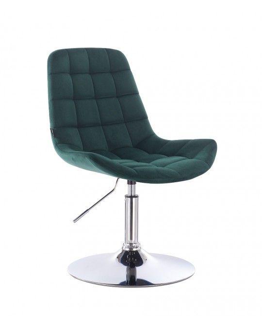 Kosmetická židle na kulaté podstavě HR590N velur - lahvová zeleň