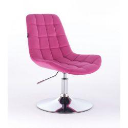 Kosmetická židle na kulaté podstavě HR590N velur - malinová (V)