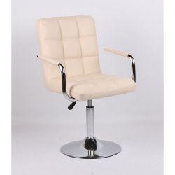 Kosmetická židle na kulaté podstavě HC-1015NP krémová (V)